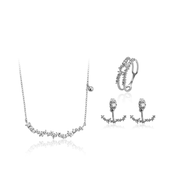Picture of  Cubic Zirconia Female 3 Pieces Jewelry Sets 3RX042373S