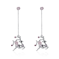Show details for Low Price 925 Sterling Silver Platinum Plated Dangle Earrings from Trust-worthy Supplier