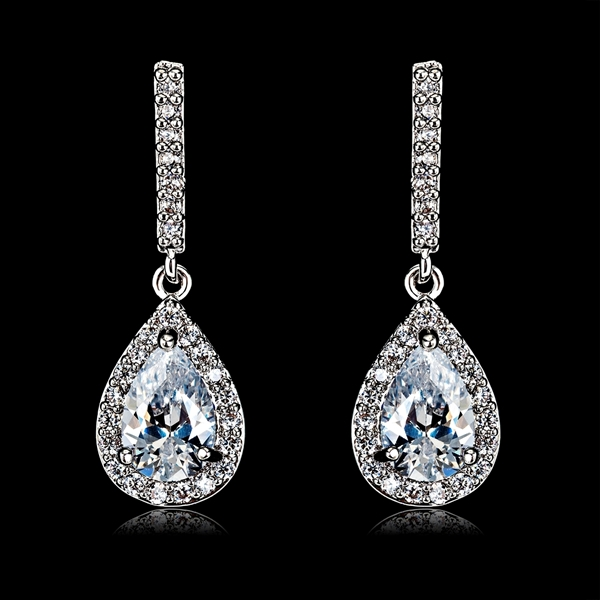 Picture of Charming White Cubic Zirconia Dangle Earrings