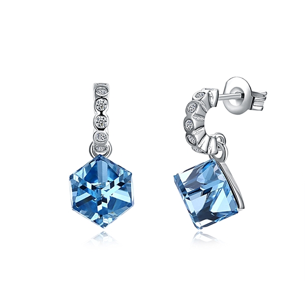 Picture of Buy Platinum Plated Blue Drop & Dangle Earrings with Wow Elements