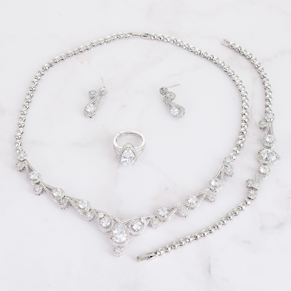 Picture of Nickel Free Platinum Plated Medium 4 Piece Jewelry Set with Worldwide Shipping