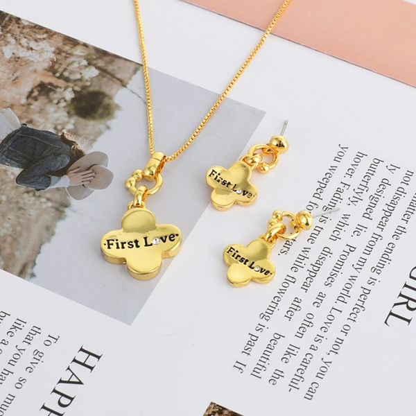 Picture of Dubai Gold Plated Necklace and Earring Set with Fast Shipping