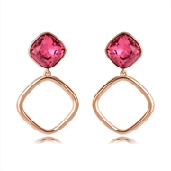 Picture of Delicate Artificial Crystal Rose Gold Plated Dangle Earrings