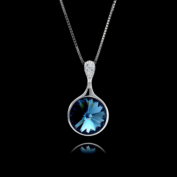 Picture of Brand New Blue Swarovski Element Pendant Necklace with SGS/ISO Certification