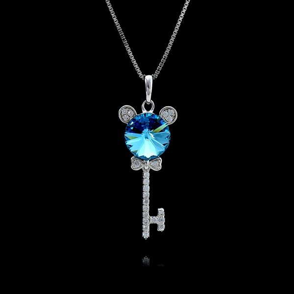 Picture of Nice Platinum Plated Blue Pendant Necklace