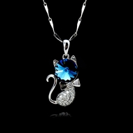 Picture of 925 Sterling Silver Blue Pendant Necklace Factory Supply