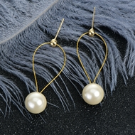 Picture of Shop Gold Plated Artificial Pearl Dangle Earrings with Wow Elements