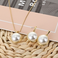 Picture of Bling Casual Artificial Pearl Necklace and Earring Set