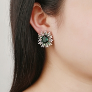 Picture of Copper or Brass Platinum Plated Stud Earrings in Flattering Style