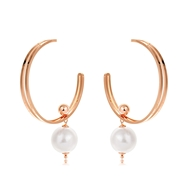 Picture of Buy Gold Plated Artificial Pearl Big Hoop Earrings with Price