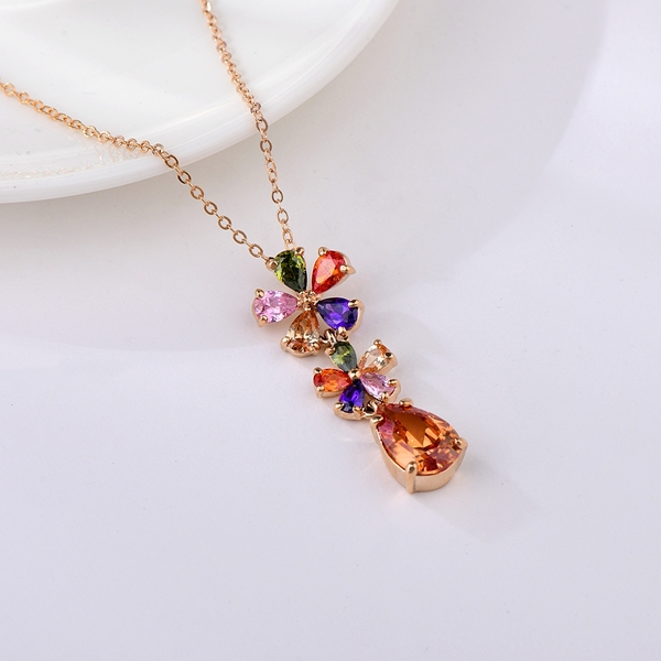 Picture of Wholesale Rose Gold Plated Colorful Pendant Necklace with No-Risk Return